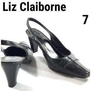 Liz Claiborne Heels Strap Sandals Leather Black 7